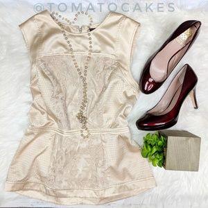 BCBGMAXAZRIA cream silk peplum blouse lace overlay